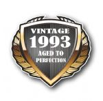 1993 Year Dated Vintage Shield Retro Vinyl Car Motorcycle Cafe Racer Helmet Car Sticker 100x90mm